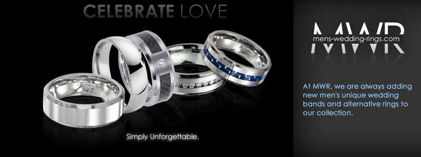 Affordable and unique men's wedding and engagement rings. Free domestic first class shipping!