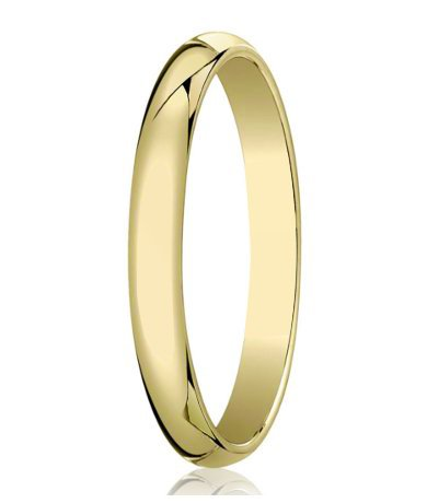 Traditional 14k Yellow Gold Wedding Band With Domed Polished Finish 4 Mm Mb1070