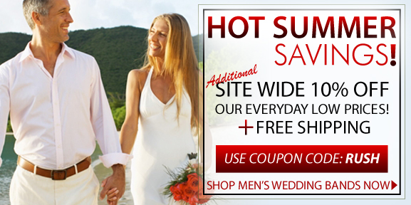 Summer Sale is now on! Save with 10% discount on men's wedding rings site wide