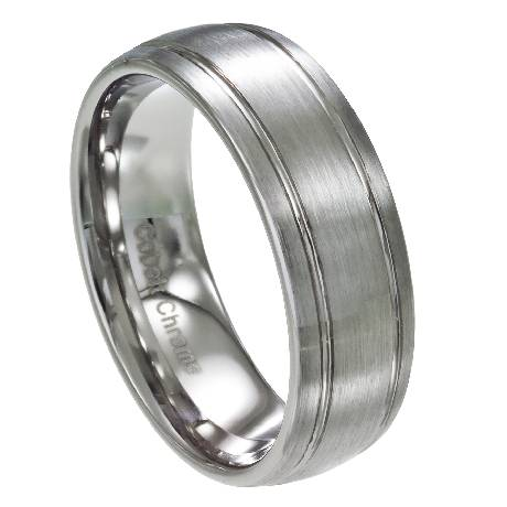 mens cobalt chrome wedding band with satin finish and two grooves 8mm mcb0105 mcb0105
