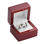 Rosewood Finished Ring Box with White Leather Lining - MRB0103