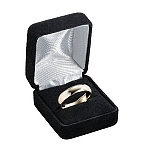 Black Velour Ring Box with White Satin Lining - MRB0109