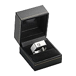 Black Leatherette Ring Box with a Gold Accent - MRB0113