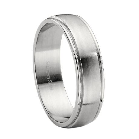 Stainless Steel Brushed Finish Wedding Ring