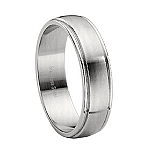 Stainless Steel Wedding Ring with Polished Edges and a Brushed Finish – 7 mm - MSS0010