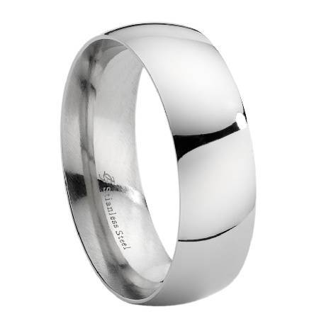 Mens Stainless Steel Wedding Band Polished Domed