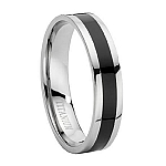 Comfort-fit Titanium Wedding Band with Black Enamel Inset and Polished Finish – 6 mm - MT0015