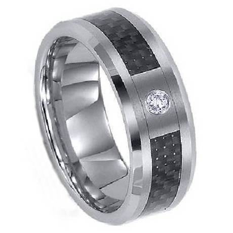 Anium Ring With Carbon Fiber And Cz Mt0125