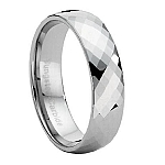 Comfort-fit Tungsten Wedding Ring with Faceted Polished Finish – 7.5 mm - MTG0005