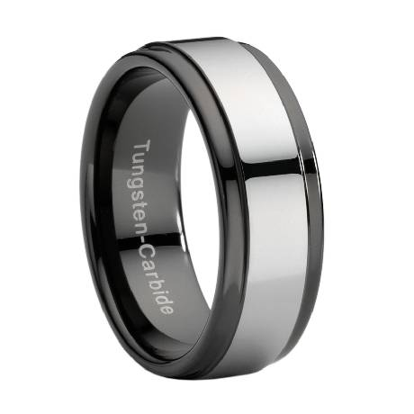 comfort fit black tungsten wedding ring with silver toned tungsten wrap 9 mm - Man Wedding Ring