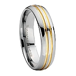 Comfort-fit Tungsten Wedding Band with Gold Grooves and Polished Finish – 7 mm - MTG0030