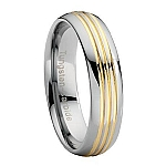 Comfort-fit Tungsten Wedding Band with Three Gold Grooves and Polished Finish – 7 mm - MTG0031