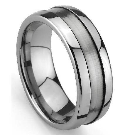 mens tungsten wedding ring satin finished groove - Mens Tungsten Wedding Ring
