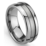 Grooved Men's Tungsten Wedding Ring with Satin Finish and Polish  ed Edges - 8mm - MTG0047