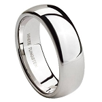 Men's White Tungsten Wedding Band with Domed Profile and Polished Finish | 8mm - MTG0061