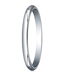 Comfort-fit 10K White Gold Wedding Band with Domed Milgrain Polished Finish – 2 mm - MB1062