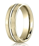 Comfort Fit 18K Yellow Gold Wedding Band with Designer Engraved & Satin Finish – 4 mm - MB1266