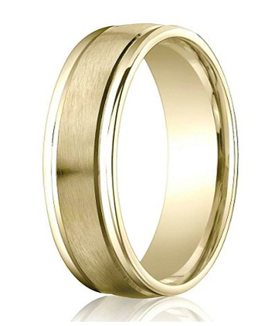 comfort fit 14k yellow gold wedding band with designer engraved satin