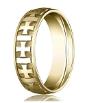 Comfort Fit 18K Yellow Gold Wedding Band with Designer Carved Crosses and Polished & Brushed Finish � 6 mm - MB1262