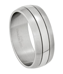 Men's Stainless Steel Wedding Ring with Polished Band and Satin Edges | 9mm - MSS0141
