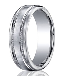 Designer Platinum Men's Wedding Band With Rope Accents | 7.5mm
