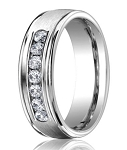 Designer Platinum Men's Ring With 7 Channel Set Diamonds | 6mm