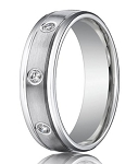 Designer Platinum Men's Ring With 8 Bezel Set Diamonds | 6mm