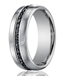 Designer Platinum Ring With 36 Channel Set Black Diamonds | 7.5mm