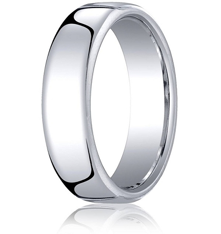 Comfortfit 18K White Gold Wedding Band 65 mm Eurofit Polished