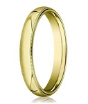 Comfort-fit 18K Yellow Gold Wedding Band with Domed Milgrain Polished Finish – 4 mm - MB1202