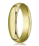Comfort-fit 14K Yellow Gold Wedding Band with Domed Milgrain Polished Finish – 6 mm - MB1064