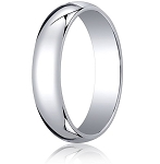 Traditional 14K White Gold Wedding Band with Domed Polished Finish – 5 mm - MB1077