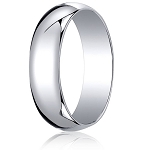 Traditional 14K White Gold Wedding Band with Domed Polished Finish – 6 mm - MB1078