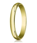 Traditional Fit 14K Yellow Gold Wedding Band with Domed Milgrain Polished Finish – 3 mm - MB1115