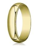 Traditional Fit 14K Yellow Gold Wedding Band with Domed Milgrain Polished Finish – 6 mm - MB1117