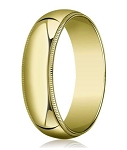 Traditional Fit 10K Yellow Gold Wedding Band with Domed Milgrain Polished Finish – 7 mm - MB1105