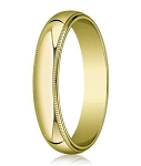 Traditional Fit 14K Yellow Gold Wedding Band with Domed Milgrain Polished Finish – 5 mm - MB1120