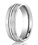 Comfort-Fit 14K White Gold Wedding Band with Designer Engraved Satin Finish – 4 mm - MB1121
