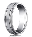 Designer Platinum Wedding Ring with Satin Finish and Two Polished Grooves | 6mm - MB0191