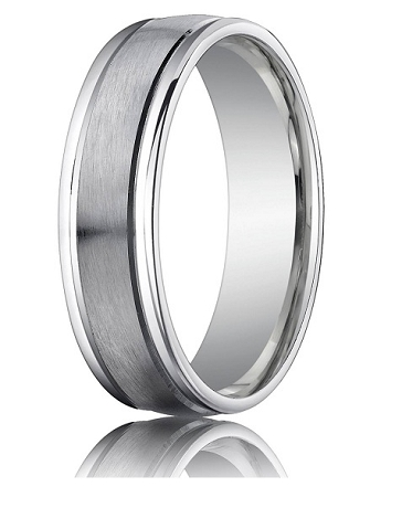 18K White Gold Mens Wedding Ring 4 mm Designer Engraved Satin