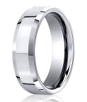 Men's Cobalt Wedding Ring with Polished Finish and Beveled Edge | 7mm - MBCB1005