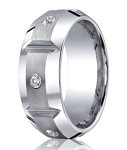 Benchmark Cobalt Band with 3 Burnish Set Diamonds | 10mm