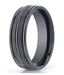 Benchmark Black Seranite Wedding Band with Three Polished Grooves | 8mm - MBCS1006