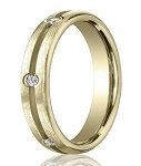 14K Yellow Gold Eternity Diamond Wedding Band with Groove | 3.5mm - MBD0103