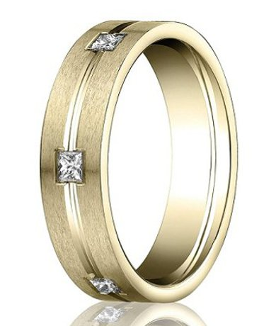 mens rings satin finish with polished center