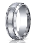 Argentium Silver Wedding Ring with Decorative and Beveled Edge | 10mm - MBS1006