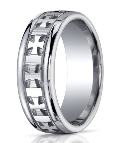 mens argentium silver cross ring polished finish