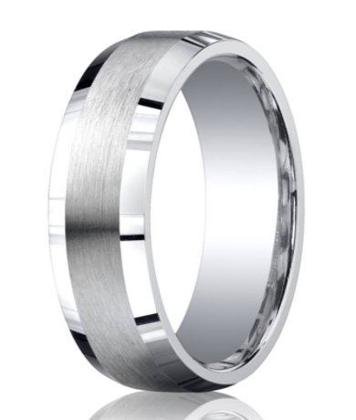 mens silver wedding ring with satin center and beveled edges 7mm mbs1008 mbs1008