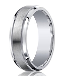 Argentium Silver Wedding Ring with Satin Finish and Decorative Polished Edges | 7mm - MBS1010