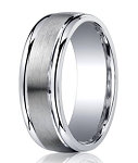 Argentium Silver Wedding Ring with Satin Center and Step-Down Polished Edges | 7mm - MBS1012